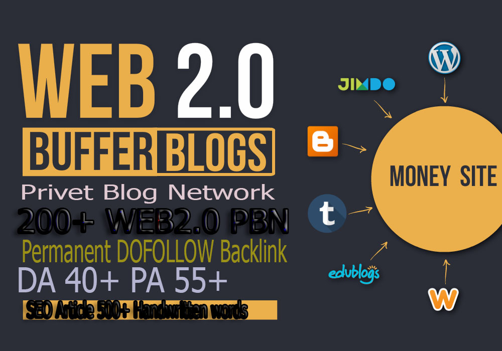 Build premium 200+ PBN Backlink homepage web 2.0 with permanent dofollow Trustfollow