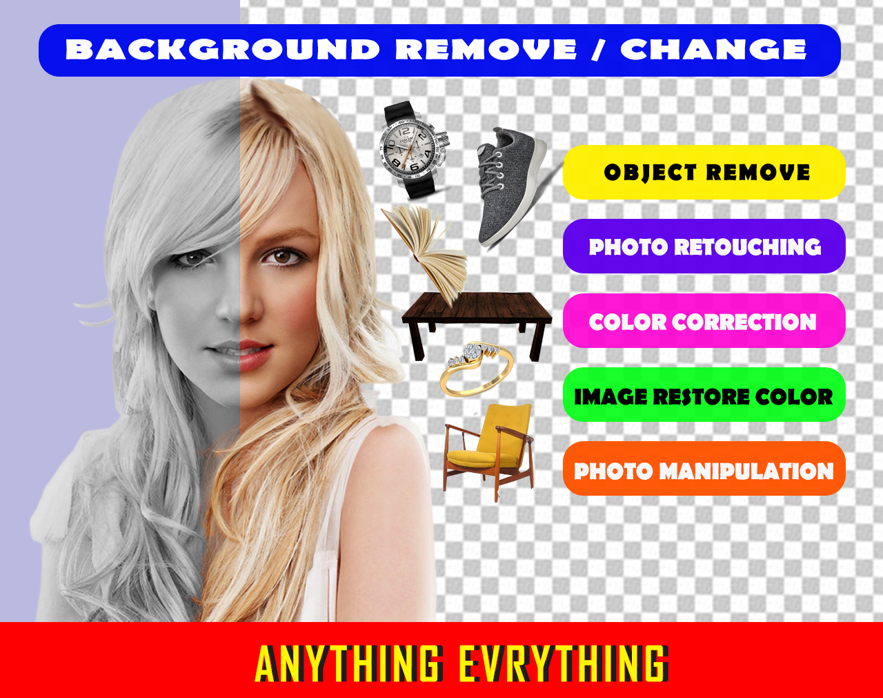 10 Images Background Remove and Retouch just 5 Hours