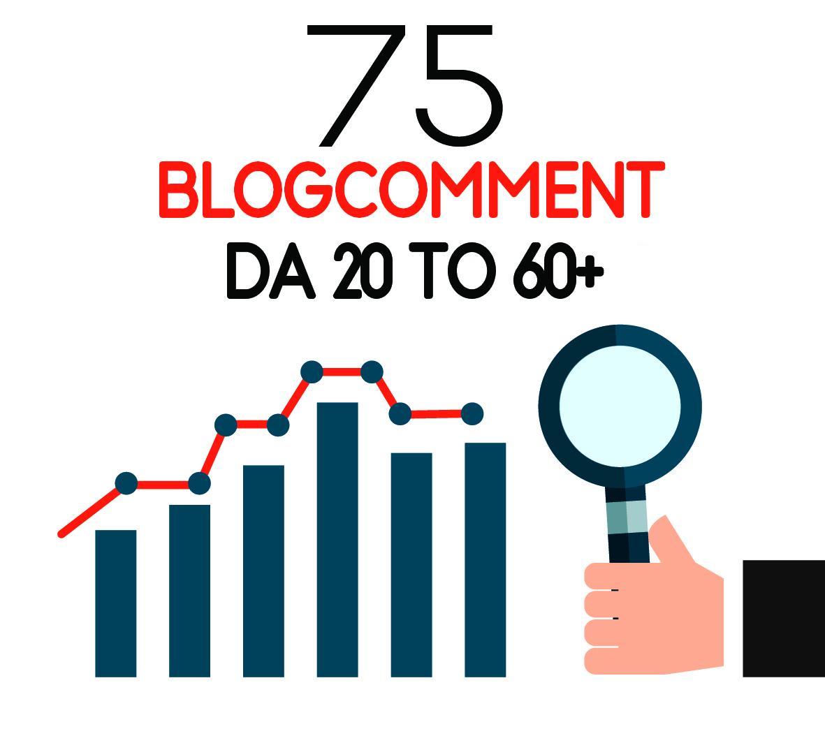 I will do manually 75 blog comment DA 20 to 60+