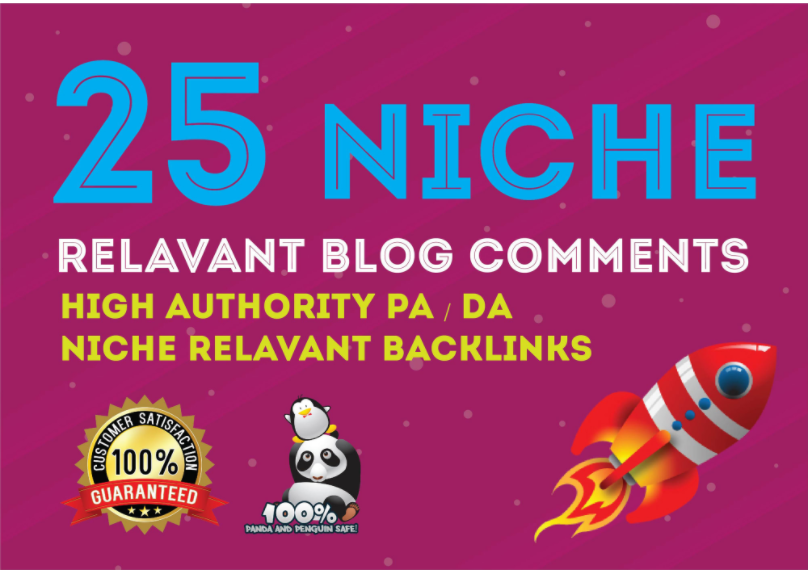 build 25 pawerful High Quality PA DA TF CF 90+to 50 Niche Relevant Blog comments Backlinks