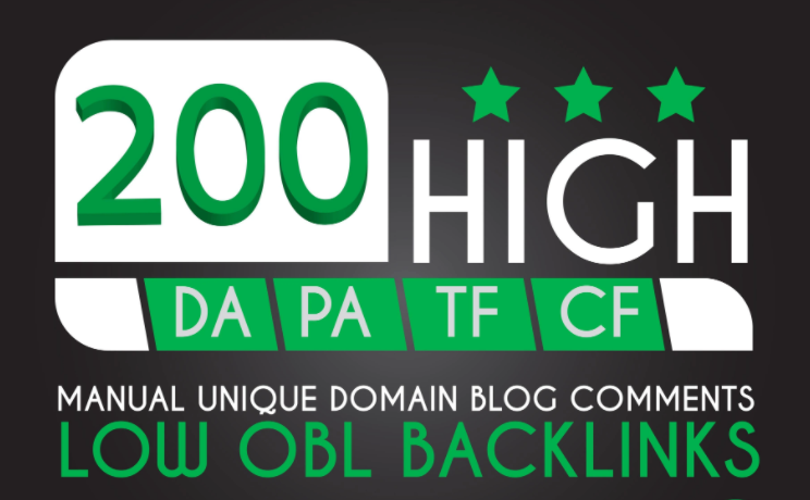 I will create 200 dofollow blog comment quality high DA PA TF CF 90+to 50 backlinks