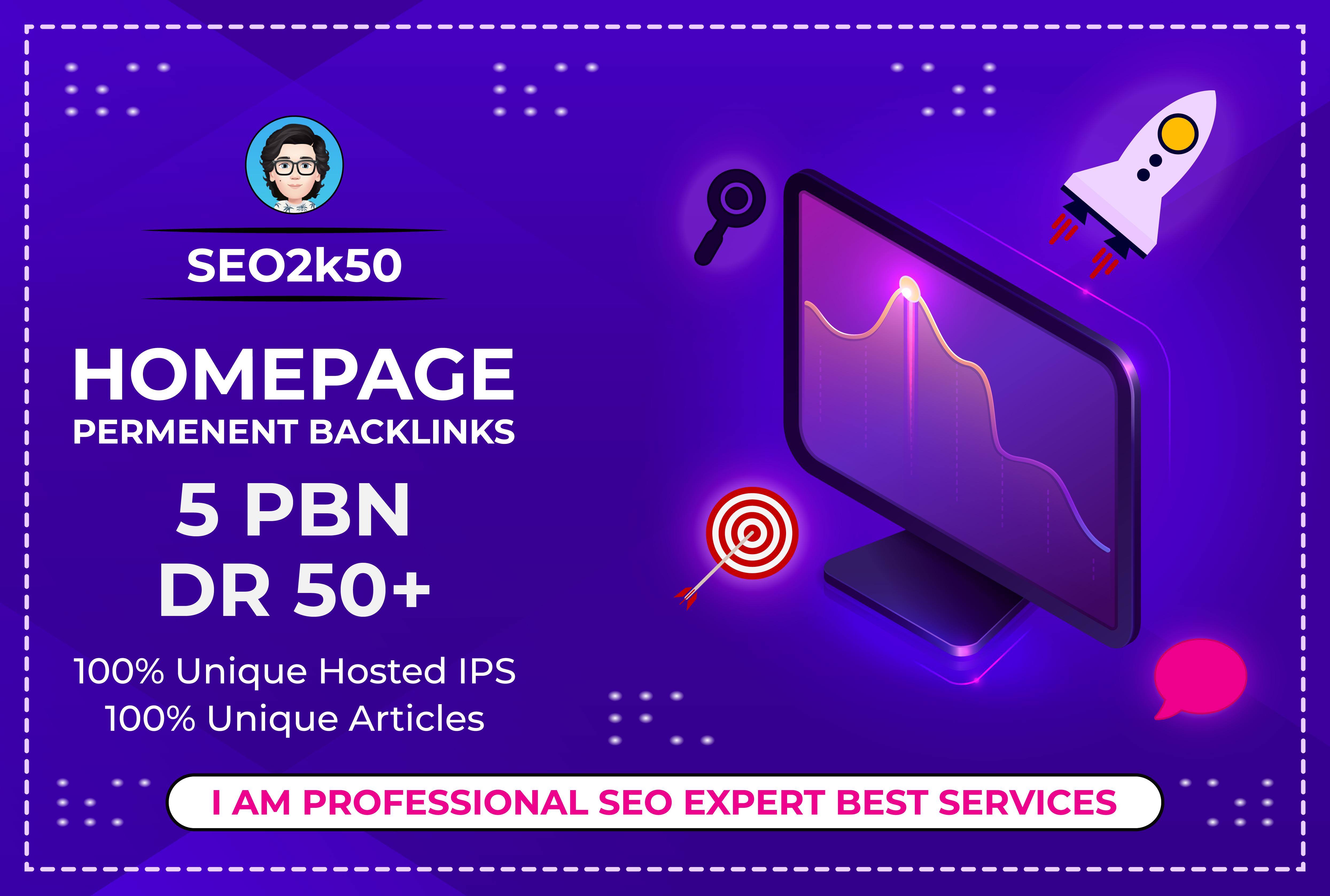 Bluild 5 PBN DR 50+high quality homepage dofollow backlinks