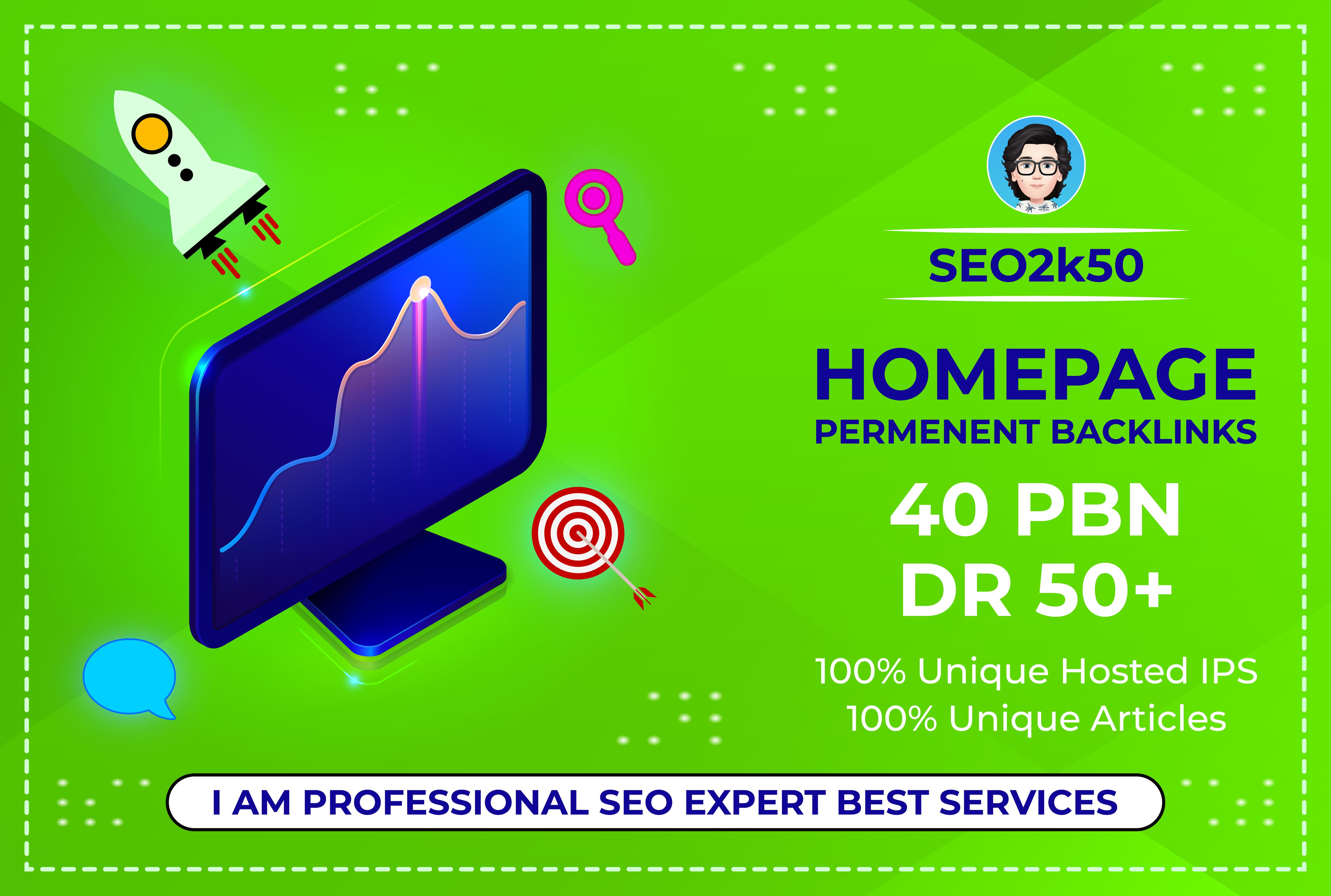 create 40 PBN Backlinks DR 50+ Dofollow Permanent