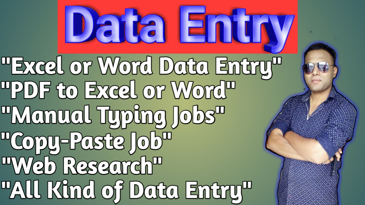 Data Entry. Expert in Excel, Copy-paste, Excellent Typing