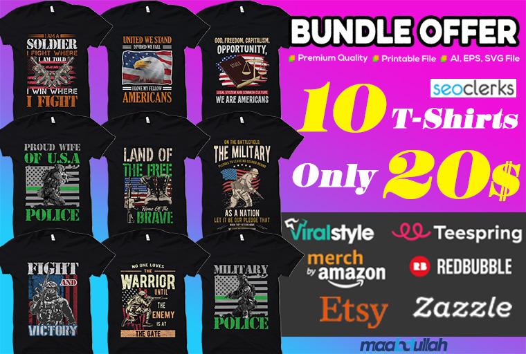 Bulk custom typography t shirt design for print on demand business