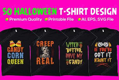 50+ Halloween t-shirt design bundle