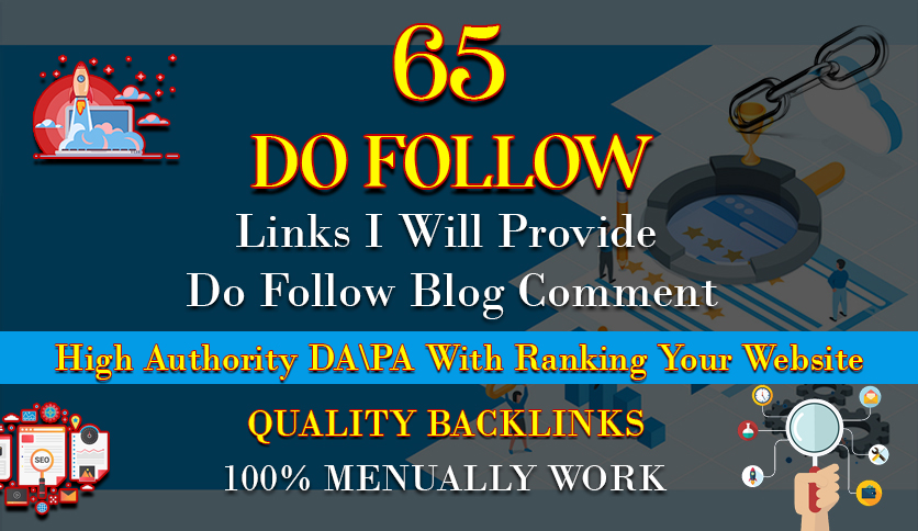 I will provide 65 dofollow blog comment backlink off page seo