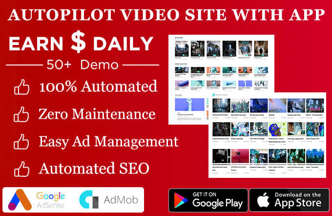 Build fully automated video website with app in any topic