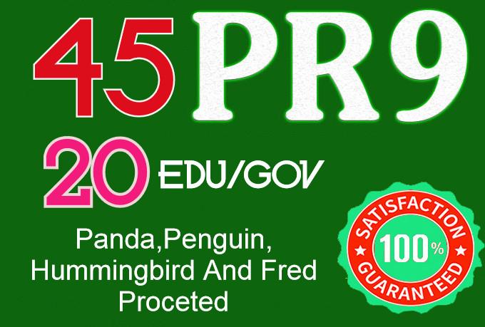 I Will do 45 Pr9+ 20 Edu/Gov Safe seo Authority Backlinks-Fire your google Ranking