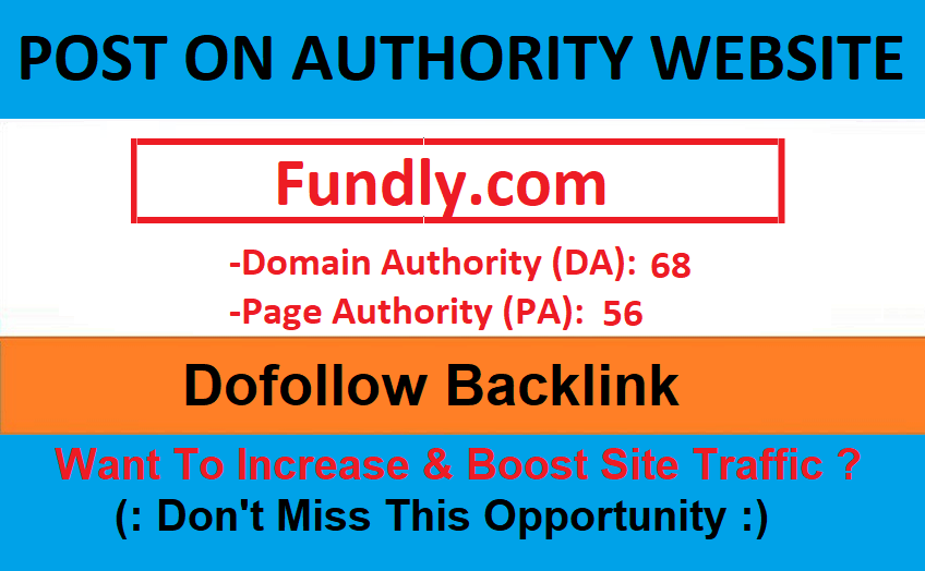 Publish your article on USA website fundly. com da 70 and traffic 103 k