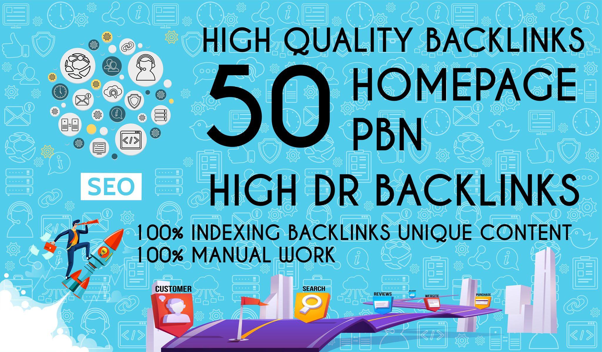 Get 50 Dofollow Homepage PBN Backlinks On High DA & DR