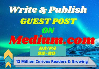 I will Write and publish a guest post Medium. com.