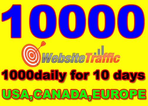 I will drive 10000 real visitors from USA, CANADA, EUROPE