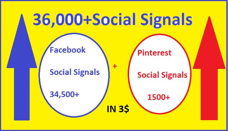 36,000+Facebook + Pinterest social signals