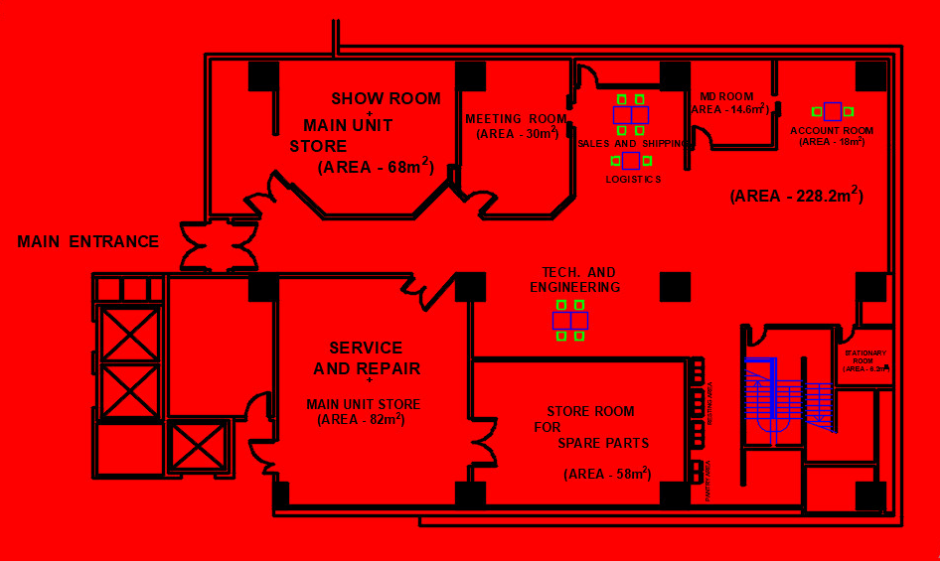 I will design your 2d office floor plan