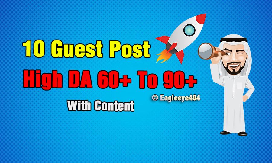 I will Published 10 Guest Post High DA Websites