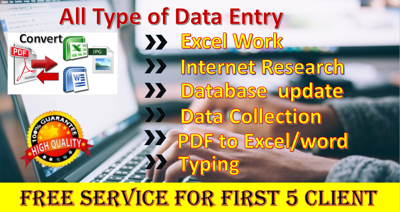 I will do Virtual assistant job for Data Entry,PDF Converter,Data Collection etc.
