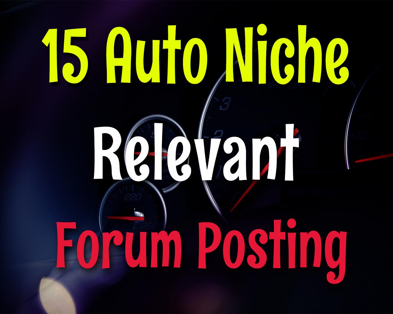 15 Auto Niche Cars,  Bikes,  Vehicles & Repairing Services Relevant Forum Posting Backlinks