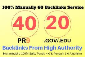 High authority 65 Backlinks service 45 pr9 + 20 EDU/GOV Safe SEO High Pr Backlinks service 2020
