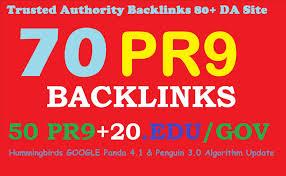 70 Authority backlinks from 50 Pr-9 and 20 Edu/gov 80+ DA High Quality seo backlinks