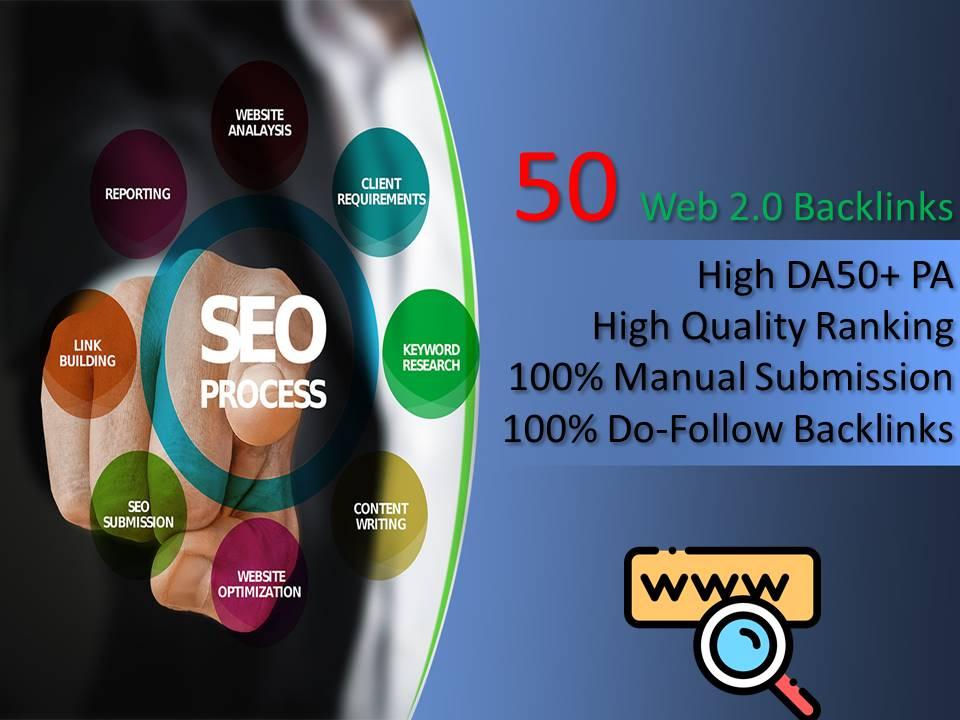 I will Create 50 Web2.0 Backlinks High Da 50+ PA High Quality backlink Site