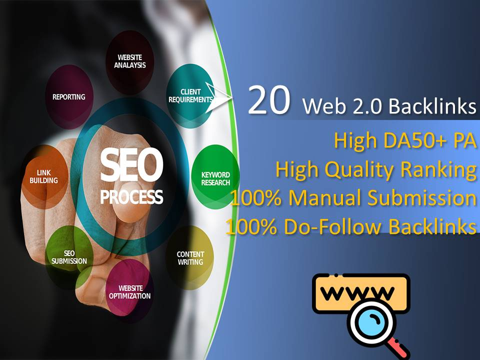 I will create Web2.0 Backlinks High Da50 plus PA with Do-follow