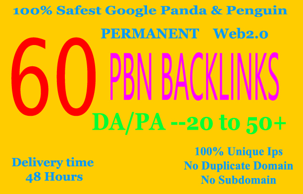 Build 60+ Backlink, web 2.0 and Dofollow with high DA/PA in your webpage with unique website