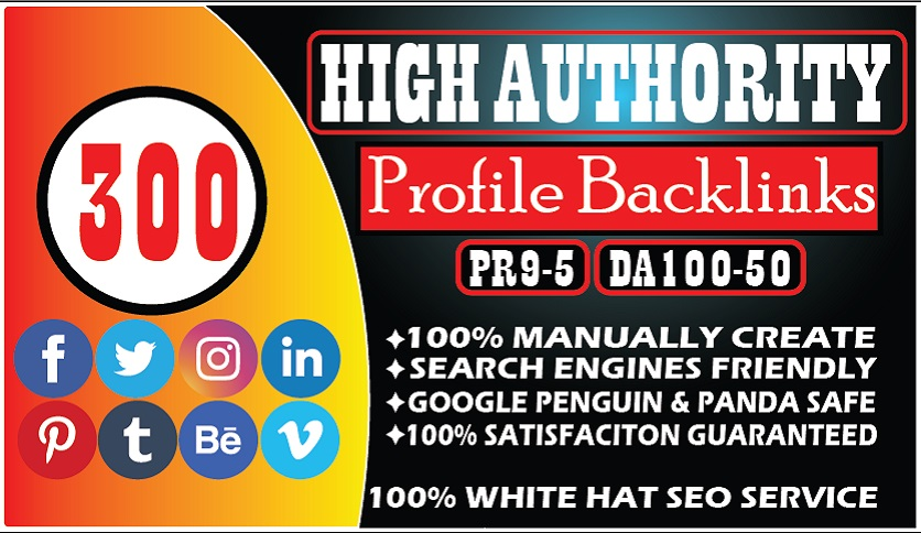 I Will Create 300 High Domain Authority Profile Links