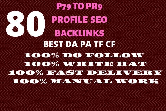 Manually Create 80 Profile Backlinks On High PR,  Da Sites And SEO