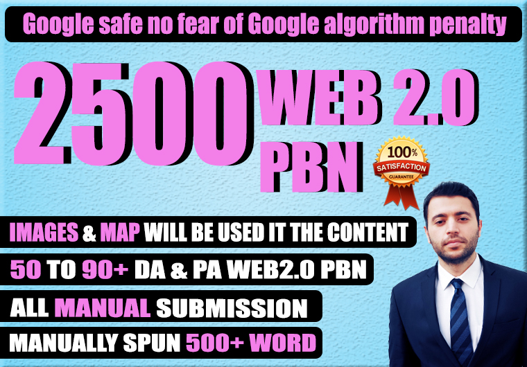 2500 Hq DA 50+ web2.0 PBN Links Increase Domain Authority in your website ranking