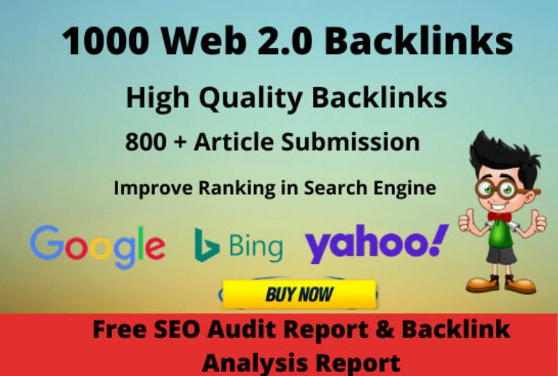 I will create 1000 high authority do follow web 2.0 backlinks DA 50 plus