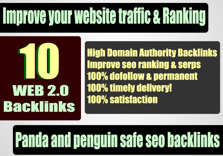 Build 10 web 2.0 45 plus DA PA TF CF Permanent Dofollow backlink