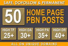 I will 50 powerful seo pbn backlinks high da tf homepage