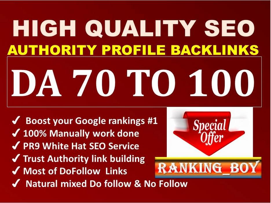 I will provide you DA 60-100 High Quality 75 Profile Backlinks