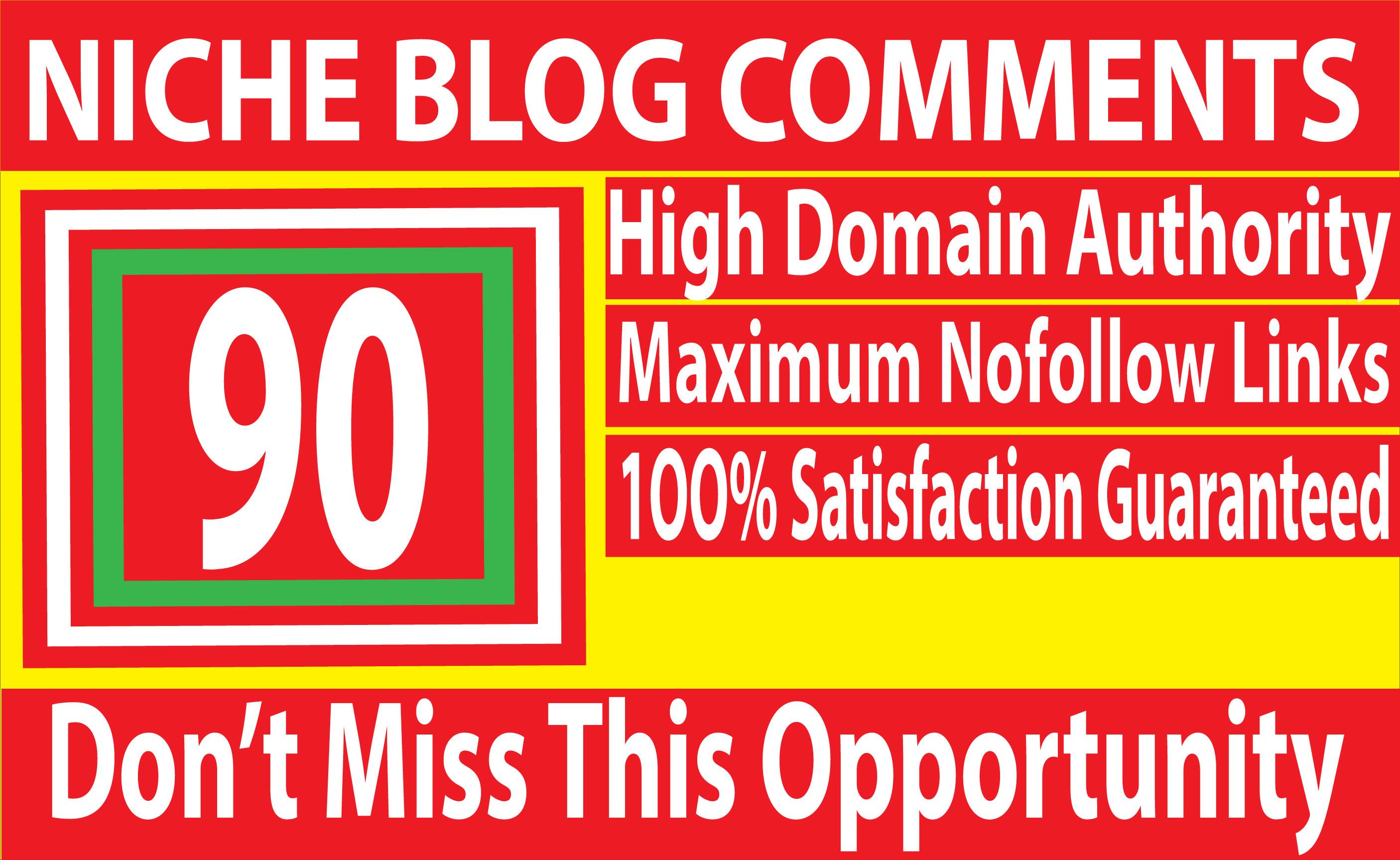 Build 90 Niche Relevant Blog Comments Backlinks on High DA Blog