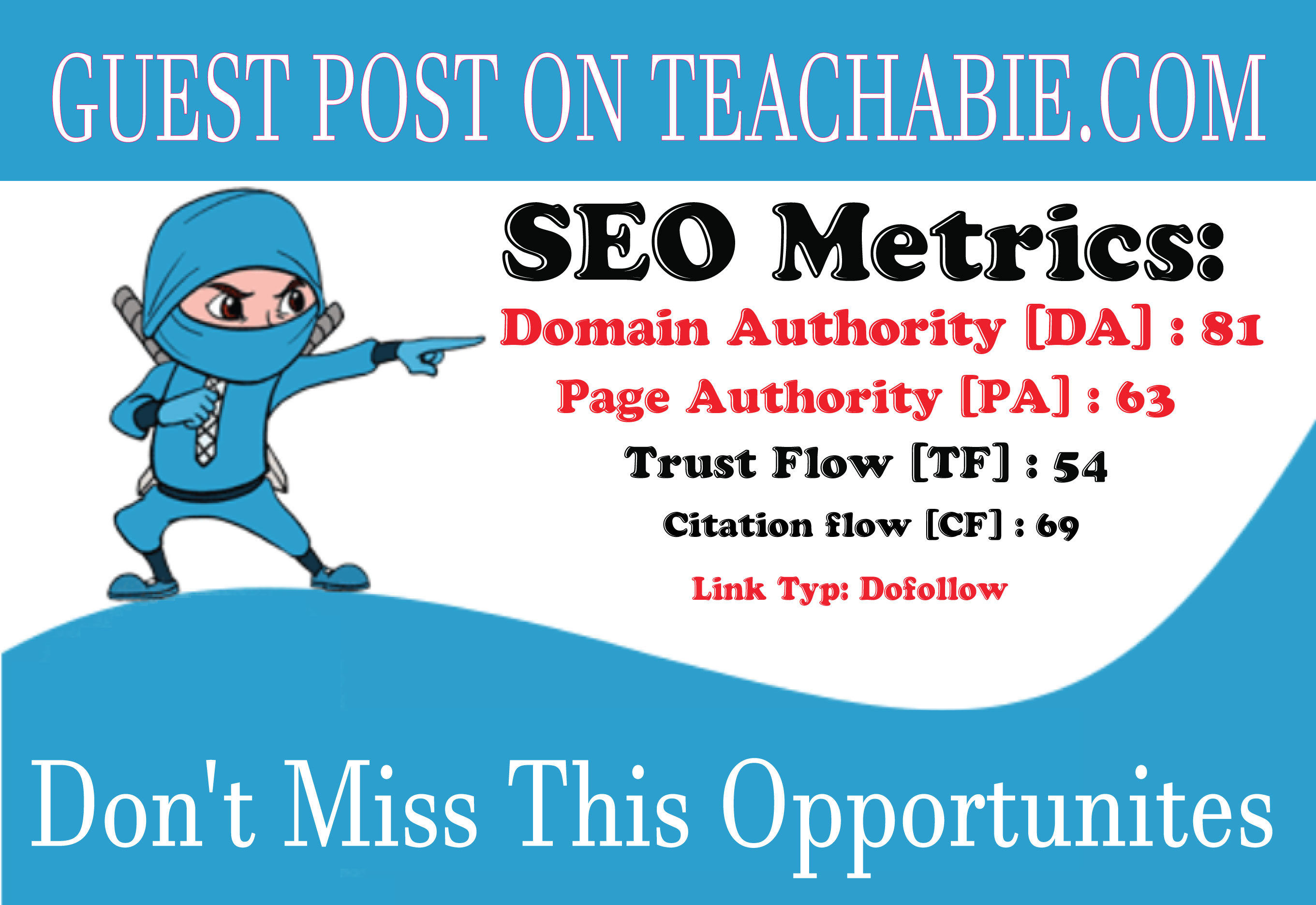 I will guest post on teachable DR90 DA 81 with Dofollow Backlinks.