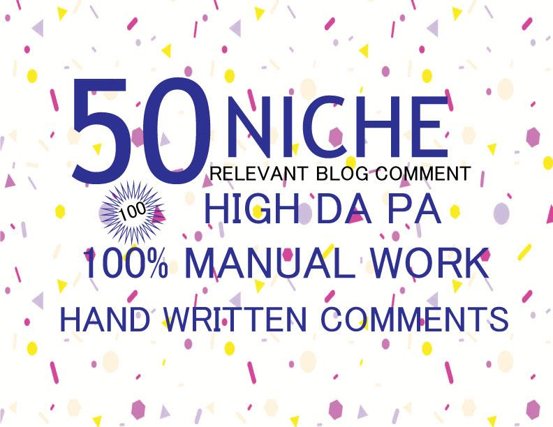 GET 50 Niche Relevant Blog Comments Backlinks