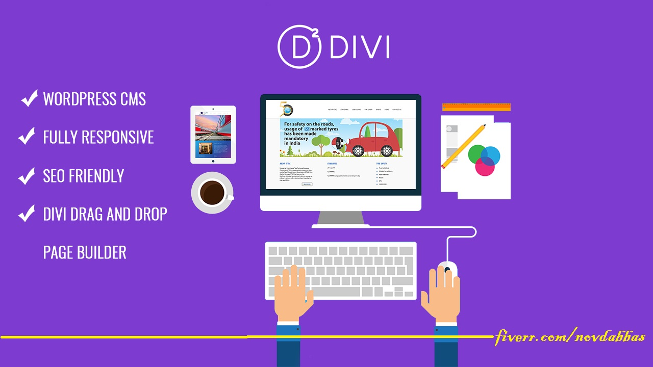 I will create and design a fully responsive website with divi theme