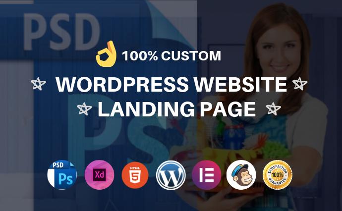 I will design wordpress landing page,  PSD to wordpress using elementor pro