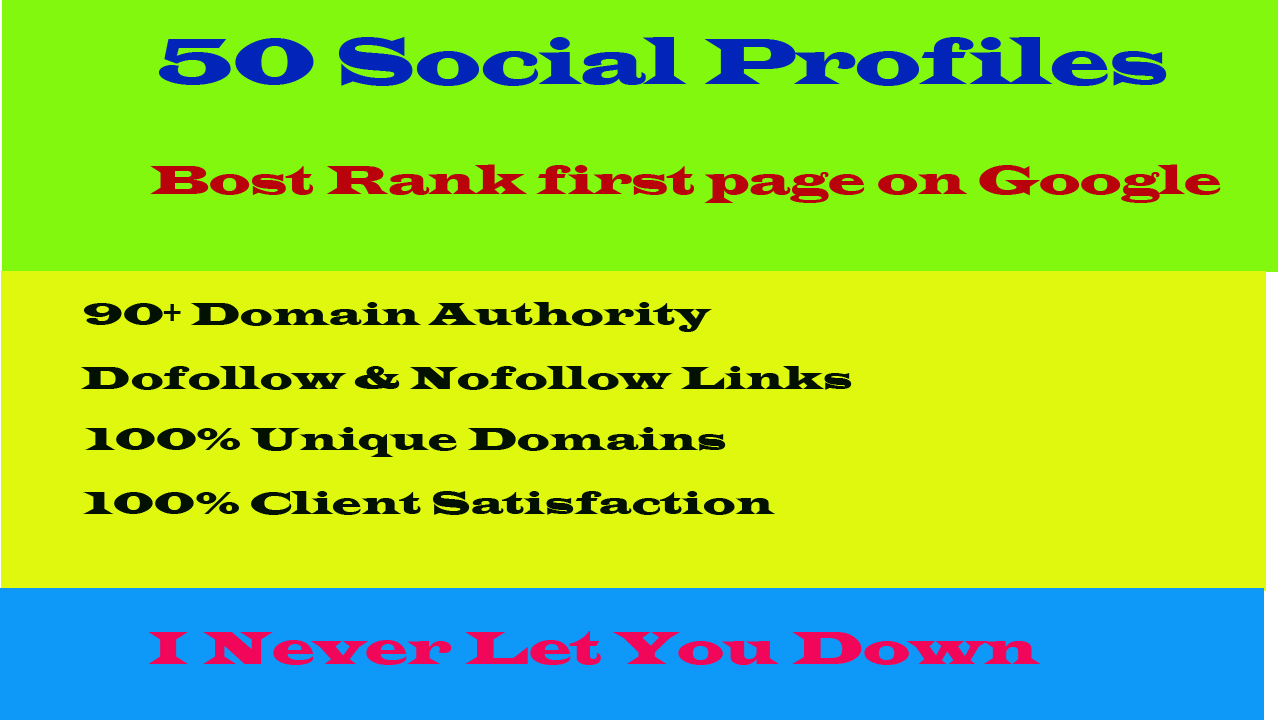 I will build 50 high da and pa social profile setup or profile creations backlinks