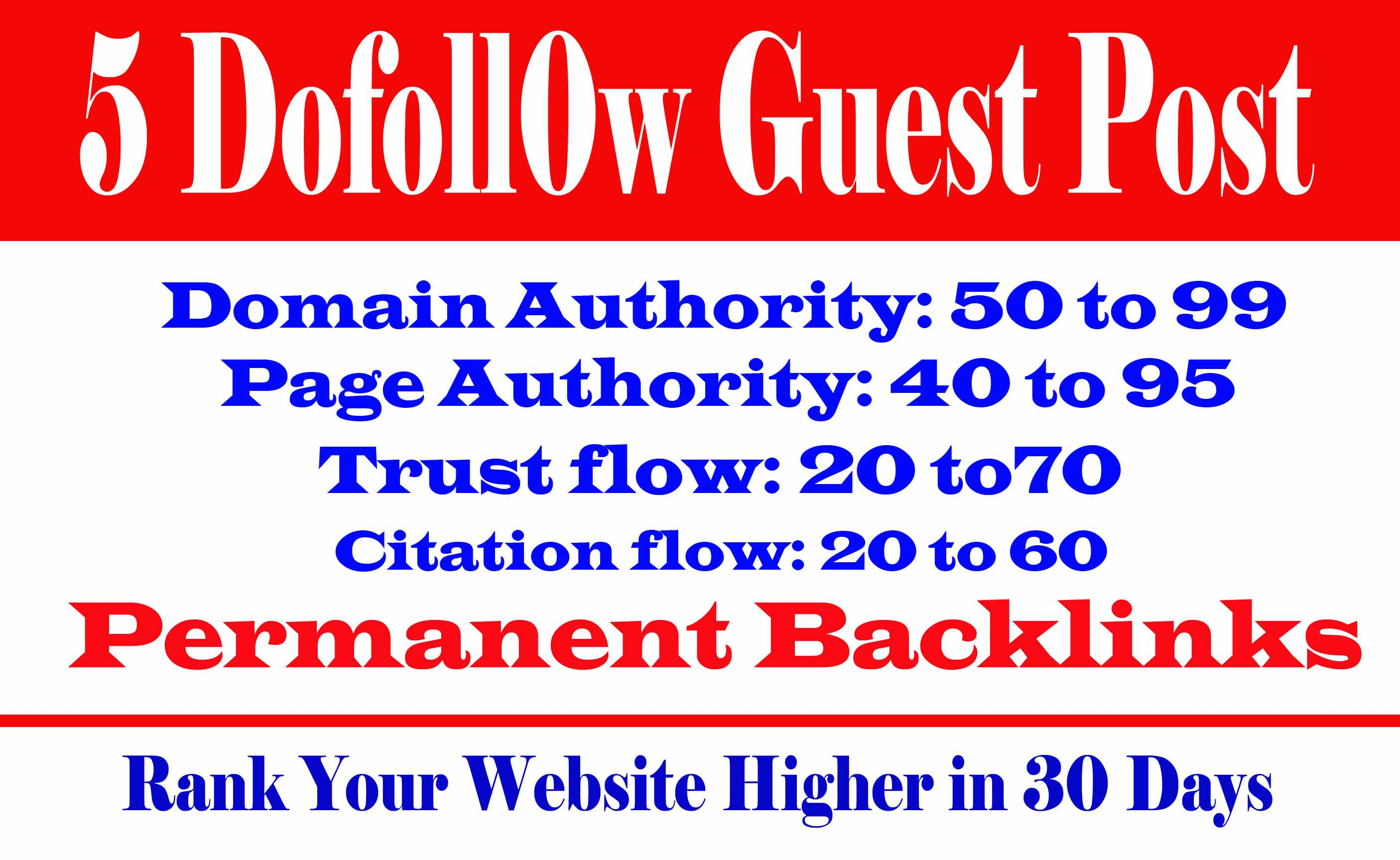I will do 5 d0f0ll0w guest posts da 99 to 50 with unique contents
