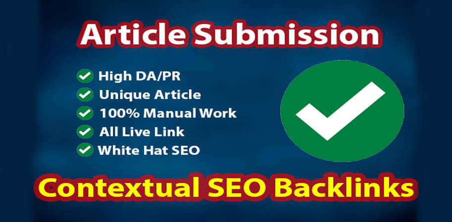I will do 100+ article submission with SEO contextual backlinks