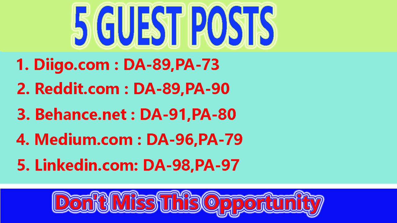 I will boost SEO ranking with 5 Guest Posts on High Traffic And High DA88+ Sites
