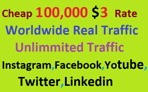Real 100,000 Website Worldwide Traffic Visitors Instagram, Facebook, YouTube, Twitter, Linkedin
