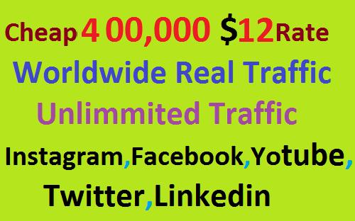 Real 400,000 Website Worldwide Traffic Visitors Instagram, Facebook, YouTube, Twitter, Linkedin