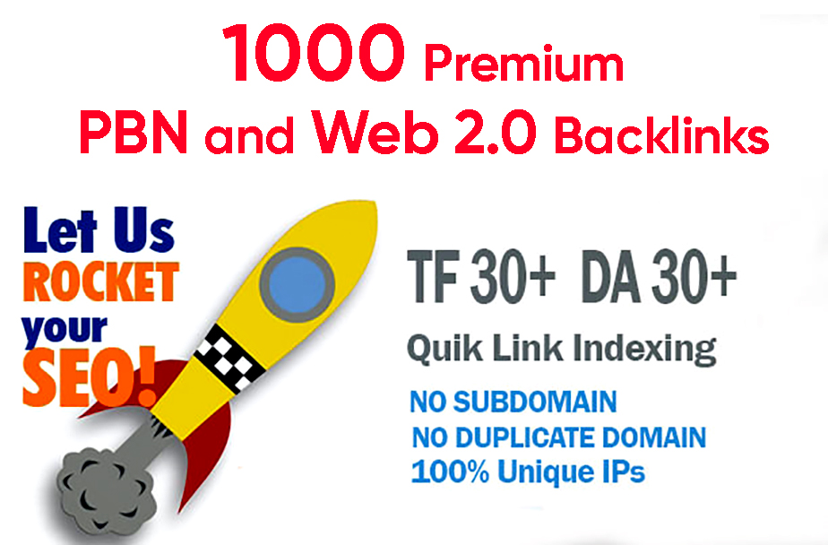 Build 1000 PBN & WEB 2.0 Backlink with Permanent Dofollow & High DA50+ PA40+ TF CF