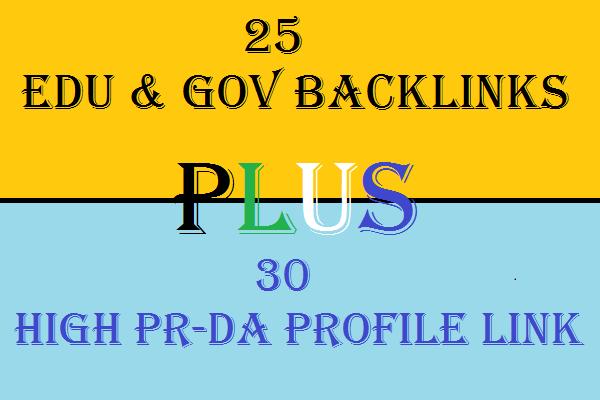 Provide 30 High PR High DA Profile Backlinks and 25 Edu and Gov Backlinks with detailed Report