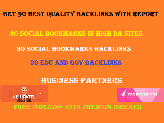 90 Best quality backlinks 30 High Profile,  30 edu backlinks and 30 social bookmarks