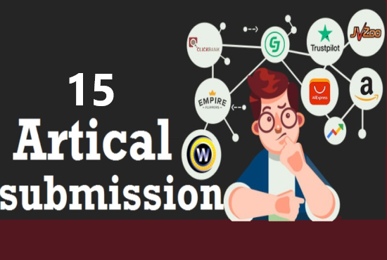 I will provide 15 artical submission with high da backlinks