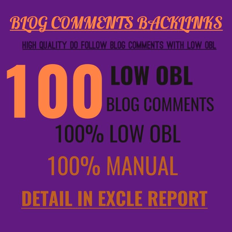 I will make 100 low obl dofollow blog comments backlinks high da